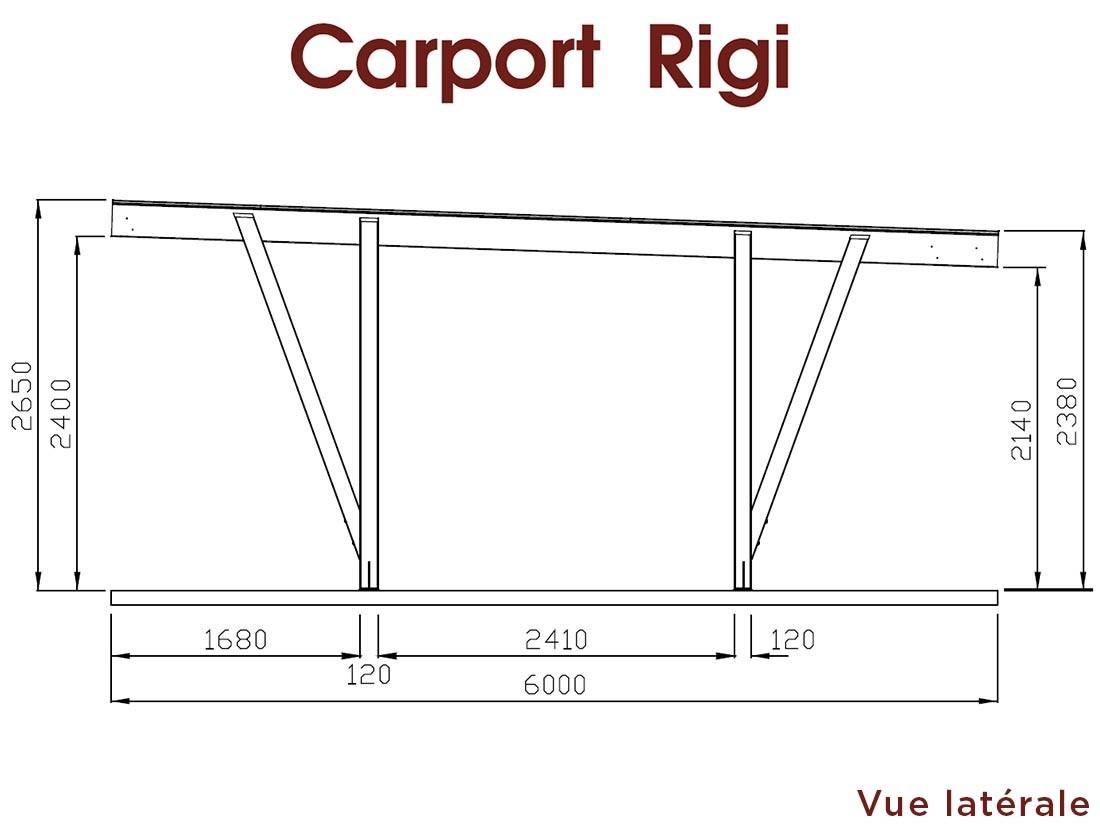 Dessin technique dimensions grand côté carport bois 23 m² Rigi en Pin marque Piveteaubois Vivre en Bois