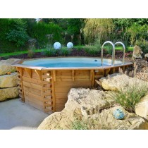 piscina de madera octogonal Maéva 500 con escalera de acero inoxidable
