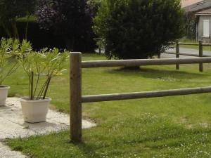 Poteau bois d'extremité Domaine 2 lisses